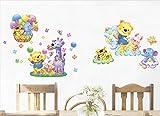 ufengke home Wandtattoo Glückliche Tiere Cartoon Elefant Bär Tiger Giraffe Kaninchen Dekorative Wandaufkleber Abnehmbare DIY Vinyl Wandtattoo für Kinderzimmer,Schlafzimmer,Spielzimmer