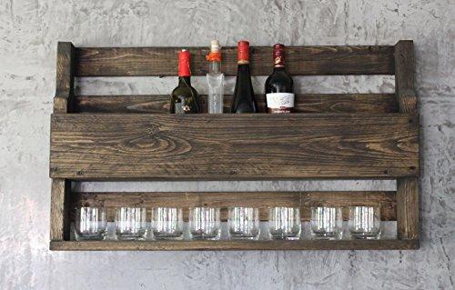 Homeclassics Weinregal Whiskey Regal Wein Glas Whisky Gläserhalter Flaschenregal 90 cm Holz