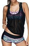EUDOLAH Damen Sport Yoga Fitness 3-Teilig Tankini mit Shorts Strand Bikini Set mit Top (L (EU 38-40), A-Pink)