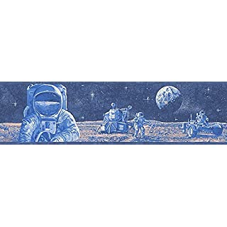 A.S. Creation 30490-1 Glow in The Dark Astronaught Design Wallpaper Border, Blue