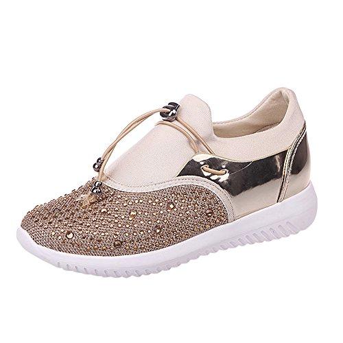 CUTUDE Laufschuhe Damen Herren Straßenlaufschuhe Sportschuhe Turnschuhe Unisex Sneaker Leichte Schuhe (Gold, 42 EU)