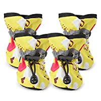 LFEU Dog Shoes Adjustable Waterproof Anti-slip Puppy Footwear Pet Cat Rain Boots