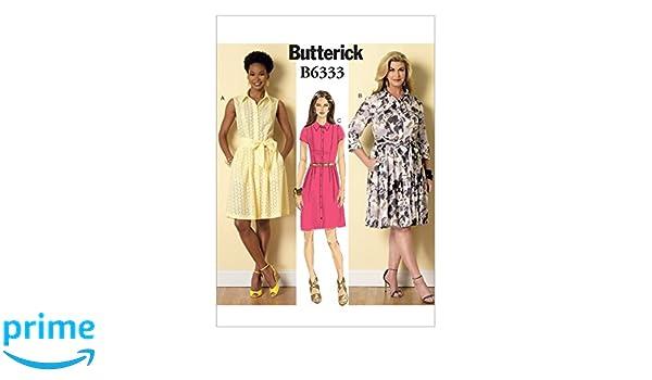 Butterick Sewing Pattern 6333 Misses/' Petite Shirtdress /& Sash