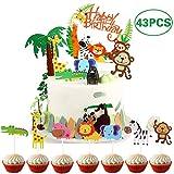 Coriver 43 Pezzi Topper Torta a Tema Zoo/Giungla Carino, 1 Pezzo Banner di Buon Compleanno e 42 Pezzi Topper Cupcake Animali per Bambini Decorazione di Compleanno Baby Shower Party