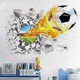 Saflyse Wandtattoo 3D Realistisch Fußball Geknackte Wand Effekt DIY PVC Wandaufkleber Kinderzimmer Wandsticker 70 x 50cm