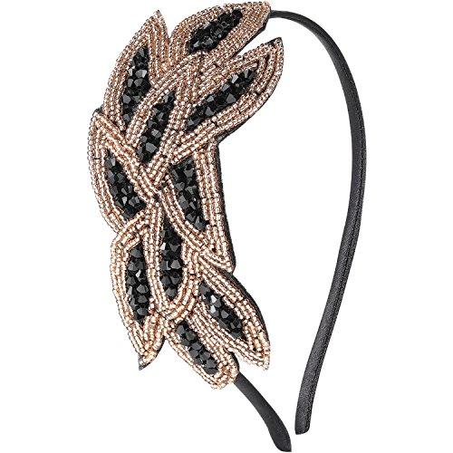band Damen Haarreif Gatsby Kostüm Accessoires 20er Jahre Flapper Haarband (Gold Schwarz) ()