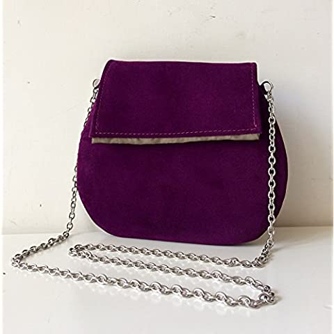 Italian leather pochette BBagdesign with steel shoulder strap and internal satin.