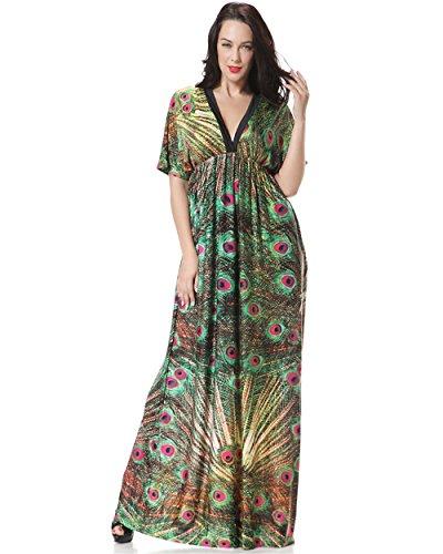 ausärmel Strandkleider Plus Size V-ausschnitt Pfau Kleider Bedrucktes Sommerkleider Lange High Waist (6XL, Bunt) (Plus Size Kleid Pfau)