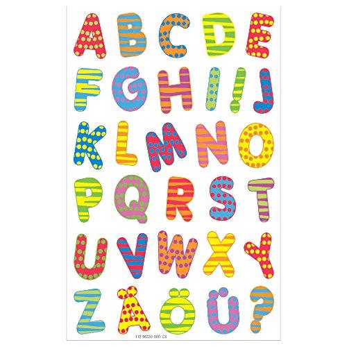 Herlitz 11296530 Etiketten Buchstaben Bunt, 3 Bogen, selbstklebend, FSC Mix