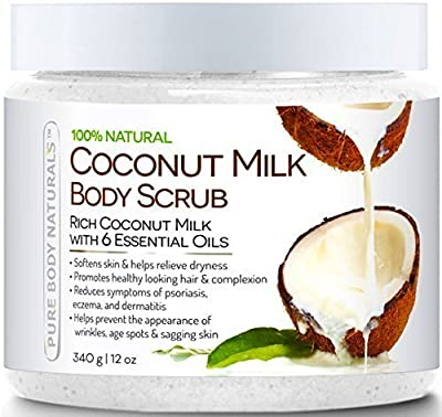 Pure Body Naturals Coconut Milk Body Scrub With Dead Sea Salt, Almond Oil And Vitamin E For All Skin Type, 12 Oz from Pure Body Naturals
