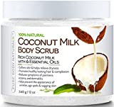 Pure Body Naturals Coconut Milk Body Scrub With Dead Sea Salt, Almond Oil And Vitamin E For All Skin Type, 12 Oz (1 Pack)