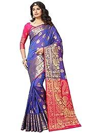 Kalapy Fashion Women's Ethnicwear Multicolor Banarasi Silk Saree With Blouse piece
