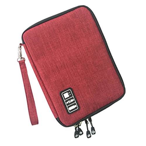 MagiDeal Sacchetto Doppio Strato di Nylon Organizzatore Dell'assistente Caricatore Rilievo Telefono per Viaggio Campeggio Rosso