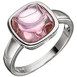 JOBO Damen Ring 925 Sterling Silber 1 Rosenquarz rosa Silberring Größe 52
