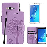 for Samsung Galaxy J7 2015 Flip Case and Screen Protector ,OYIME [Purple Cute Cat and Butterfly Tree] Design Leather Kickstand Magnetic Holster with Card Holder Full Body Protective Wallet Cover