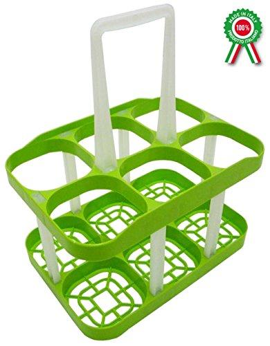 Porta bottiglie cantinetta in plastica verde con manico 6 posti cestello