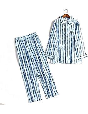 Amabubblezing Ropa de Dormir de algodón Suave para Hombres Camiseta de Cuello Redondo de Manga Larga con Cuello...