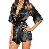 Demarkt Reizwäsche Rose Spitze Haushalt Kleid sexy Bademäntel Sauna Kleidung schwarz x S