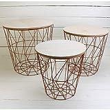 MACOSA NO771 3er Set Metalltische Kupfer mit MDF Holzplatten Deckel/Wohnzimmertisch / Beistelltisch/Deko-Tisch/Dekorativ und stabil/Tisch