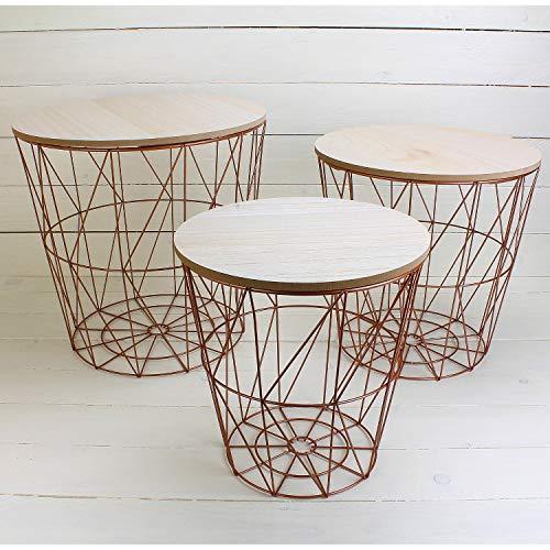 MACOSA NO771 3er Set Metalltische Kupfer mit MDF Holzplatten Deckel/Wohnzimmertisch / Beistelltisch/Deko-Tisch/Dekorativ und ()