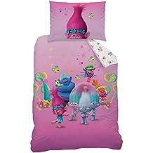 CTI 044130Biancheria da letto Trolls, cotone, colore rosa, 160X 210+ 65x 100cm
