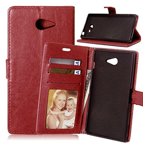 Xperia M2 Flip Hülle, [Kostenlos Syncwire Ladekabel] FUBAODA PU Flip Ledertasche Schutzhülle Case Tasche mit Ständerfunktion und Karte Halter für Xperia M2 (D2403 D2406) (braun)