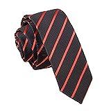 Neu DQT schmale Krawatte einstreifig Schwarz und Rot