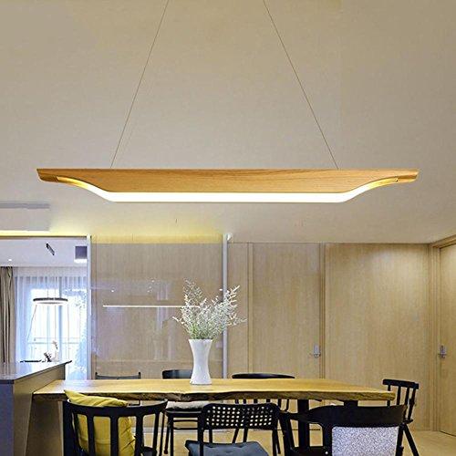 Hoch Hängende Licht (Home - Art Holz Pendelleuchten hängende Beleuchtung Höhe verstellbar Nordic Kreativität Restaurant Kronleuchter Acryl Lampenschirm LED warmes Licht, 95 * 8cm 26w)