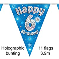 Happy 6th Birthday Blue Holographic Foil Party Bunting 3.9m Long 11 Flags