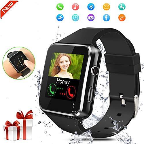 Smartwatch Bluetooth,Reloj Inteligente con Whatsapp Smartwatches con Cámara Pantalla táctil para Tarjeta SIM Smart Watch Telefono Sport Fitness Tracker Compatible Android Huawei iOS para Hombre Mujer