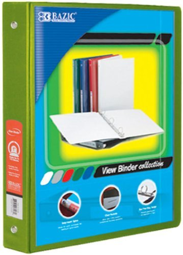 BAZIC 1-Inch 3-Ring View Binder with 2-Pockets, Lime Green by Bazic