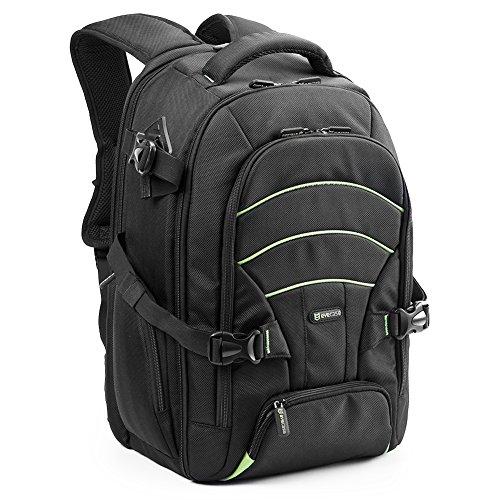 Evecase Rucksack Universal Profi Nylon mit Regenschutz für Kameras, DSLR, DSLR und Laptop bis 39,6cm (15,6Zoll)–Schwarz mit Grün Linie (Tasche Tablet Polaroid 8 Zoll)