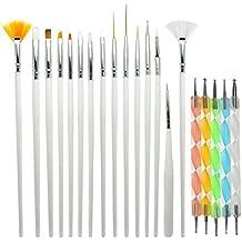 Blue Vessel 15 x Nagel Kunst Malerei Pen / Pinsel Set Plus 5 x Nail Art Dotting Tools