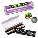 ZEN Starter Set 4tlg.: konische Drehmaschine 110mm - 2x OCB premium black slim KS Slim Papers inkl. Tips + Rasta-Button - Jointroller