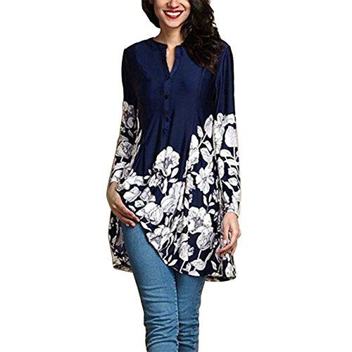 Zolimx Damen V-Ausschnitt Chiffon Langarm Slim Oversize T-Shirt Bluse Lose Tops Frauen Plus Größen-Blumendruck-V-Ansatz Art- und Weiselange Hülsen-Knopf-langes Hemd (37 16 Shirt 36 Slim Dress)