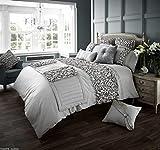select-ed  de Lujo firma gama Verina estilo funda de edredón con funda de almohada juego de ropa de cama o camino de a juego plata Talla:Super King