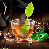 iNeibo Kitchen infusore per tè e tisane/colino/filtro per te in silicone con setaccio in acciaio inox e un tappo a forma di foglia di Tè insieme ad un piattino, 100% silicone privo di BPA, (Verde)