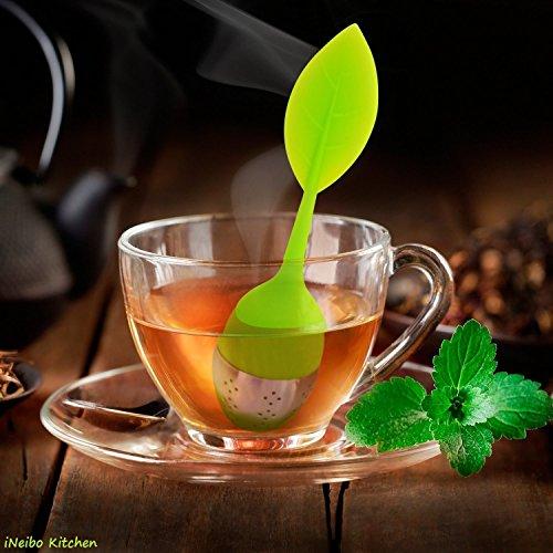 Tee-Ei aus Silikon, Teesieb aus rostfreiem Edelstahl und beweglichem Griff in Blattform inkl. Untersetzer!