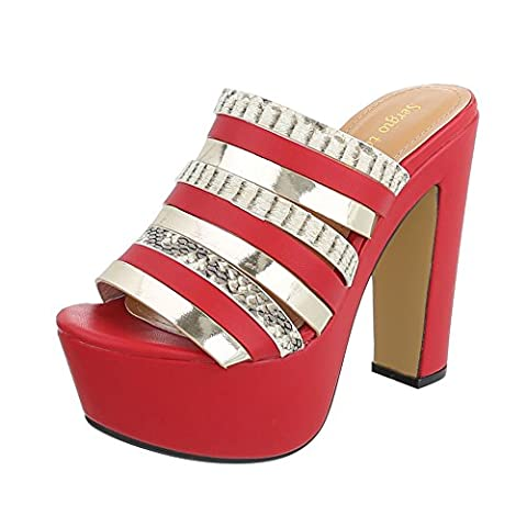 High Heel Sandaletten Damen-Schuhe Plateau Pump High Heels Ital-Design Sandalen / Sandaletten Rot Gold, Gr 39, Ju1111-