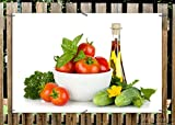 Wallario Garten-Poster Outdoor-Poster - Frische Salatzutaten mit Kräuter-Öl - Tomaten, Gurke, Petersilie in Premiumqualität, Größe: 61 x 91,5 cm, für den Außeneinsatz geeignet