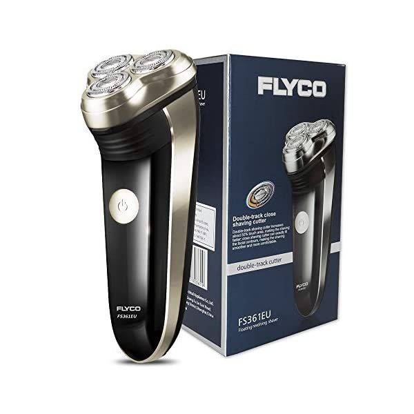 FLYCO Electric Shaver FS361EU Rechargeable Mens Rotary Shavers With Precision Beard Trimmer And Charging Indictor Black UK 2 Pin Plug
