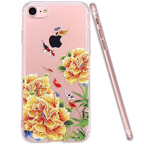 JIAXIUFEN TPU Coque - pour Apple iPhone 7 Silicone Étui Housse Protecteur - Red Peony Yellow Peony