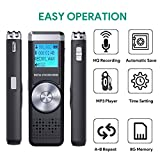 from TENSAFEE Digital Voice Recorder,TENSAFEE 8G Dictaphone Sound Recorder,Portable Rechargeable HD Audio Recorder with Double Microphone Clear recording, MP3 Player/A-B Repeat/One Touch Recording,Voice Recorders for Lectures/Meetings/Interviews/Class Model Digital voice recorder