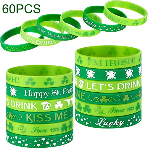 Chuangdi 60 Stück Shamrock Irish Gummi Armbänder Armband, St. Patrick's Day Armband, Party Favors Supplies Geschenk Dekorationen
