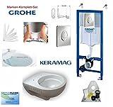Grohe Vorwandelement mit Drückerplatte Chrom, Keramag Renova Nr. 1, rimfree, Spülrandlos, Tiefspül-WC, inkl. Sitz und Beschichtung