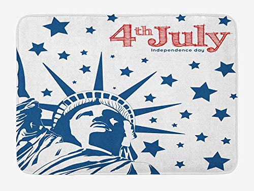 4th of July Bath Mat, Silhouette of Statue of Liberty Stars Independence Illustration, Plush Bathroom Decor Mat with Non Slip Backing, 15.7X23.6 inch, Red White and Navy Blue