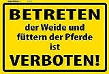 Betreten der Weide und füttern der Pferd ist Verboten! Warnschild metal sign deko schild blech projekt