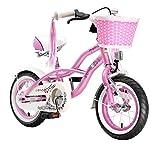 BIKESTAR Premium Sicherheits Kinderfahrrad 12 Zoll für Mädchen ab 3 - 4 Jahre ★ 12er Kinderrad Cruiser ★ Fahrrad für Kinder Pink