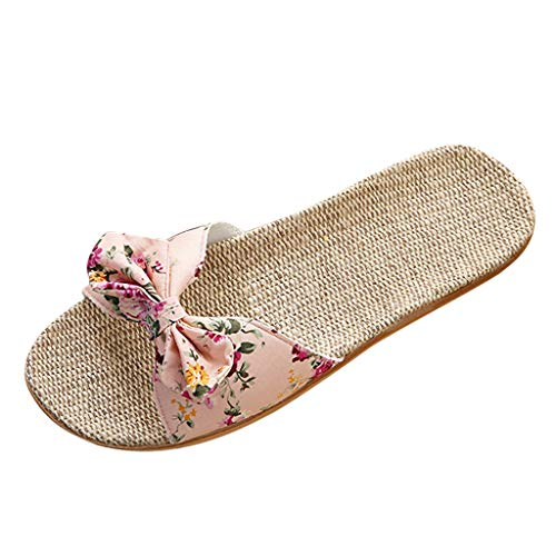 Yourgod Ladies Boho Bow Flowers Linen Slippers Sandals Beach Sandals Slipper Shoes Home Shoes Female Bohemia Bowknot Flax Linen Flip Flops