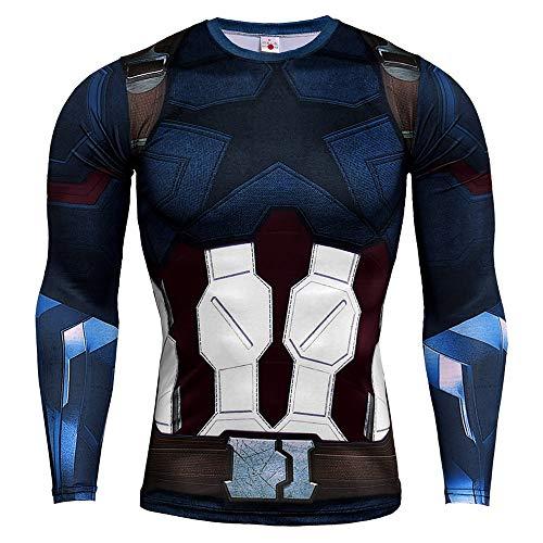 HOOLAZA Avengers Super Heroes Herren Langarm Kompressions T Shirt Herren Joggen Motion Shirt, Captain America Dunkelblau, M